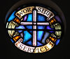 Christian call window: stained glass - art glass windows with a Christian call to worship and service