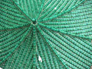green Chinese roof: looking down on traditional green Chinese tiled roof