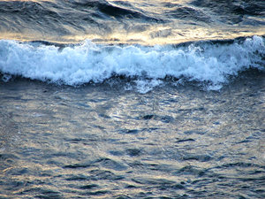 waves at dusk: waves on the ocean shoreline at dusk