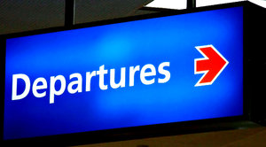 the way out: colourful departures sign