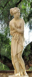 who is hiding behind the tree2: Grecian style statue of modesty in public garden