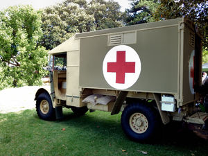 WWII medical transport vehicle: WWII red cross military ambulance
