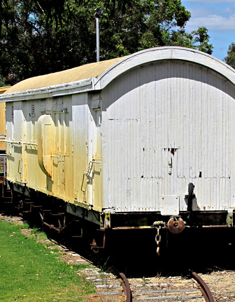 old railway carriage: old disused railway carriage on display
