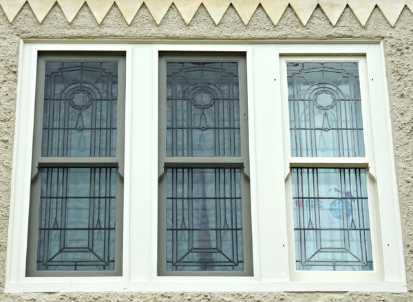 window triplets: three adjoining decorative art-glass windows