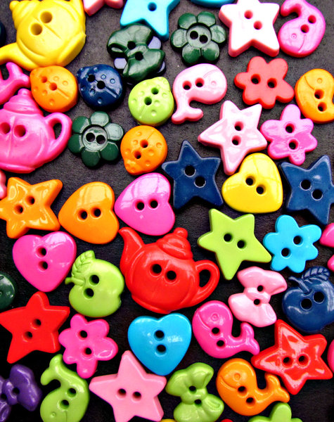 childrens novelty buttons: variously shaped colourful novelty buttons for children's clotthes