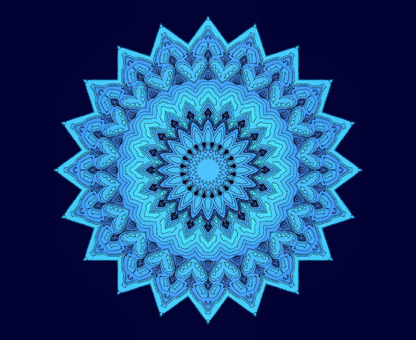 blue sketch layered mandala: abstract background, texture, kaleidoscopic pattern and perspectives