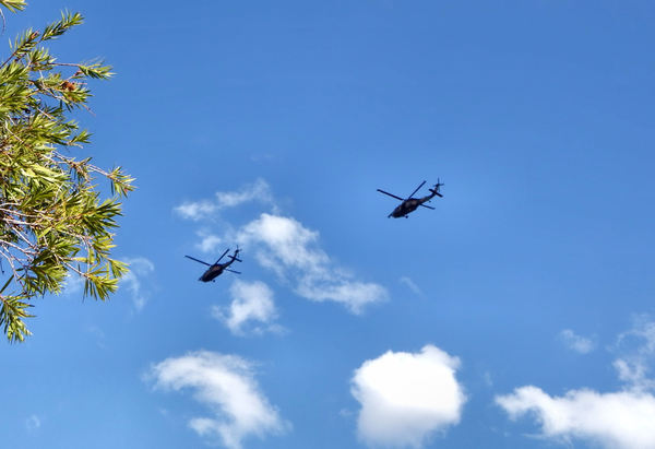 military flyover2: daytime military helicopter flying exercises