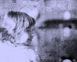 Grunge background with girl: My daugther