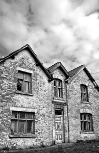 Haunted House 5: High contrast b&w image of a derelict and rather spooky farmhouse.
