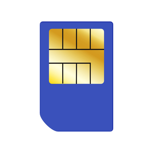 Blue SIM Card: Blue SIM card on a white background.