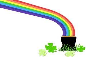 Lucky Rainbow: Rainbow and clover leaves