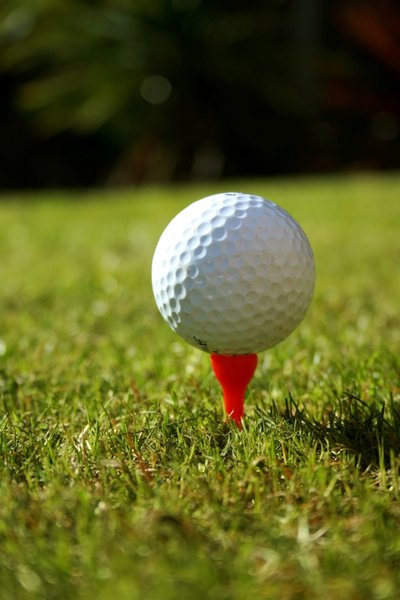 Golf Ball: White golf ball on a red tee against a green grass background