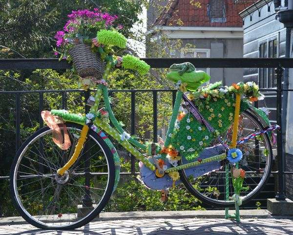 Bicycle: Bicycle with flowers, standing on a bridge in Edam, Netherlands.