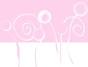Pink Floral Background: A graphic sketch of floral shapes in pastel pink.