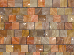 Glossy Tiles: Glossy tiles in multiple shades of brown and beige.