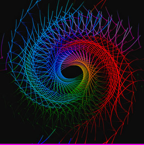 Waves and Swirls 1: Vivid futuristic shapes, lines and swirls in a rainbow spectrum.