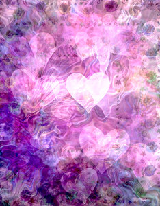 Dreamy Hearts: A beautiful dreamy abstract of hearts and flowers in shades of pink and purple. Looks better in the large version.