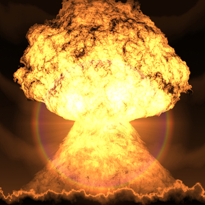 Explosion 1: An atomic explosion.
