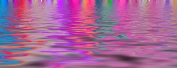 Rainbow Reflections: Banner of lights reflecting in water in warm carnival colours. Makes a great background, texture or fill.