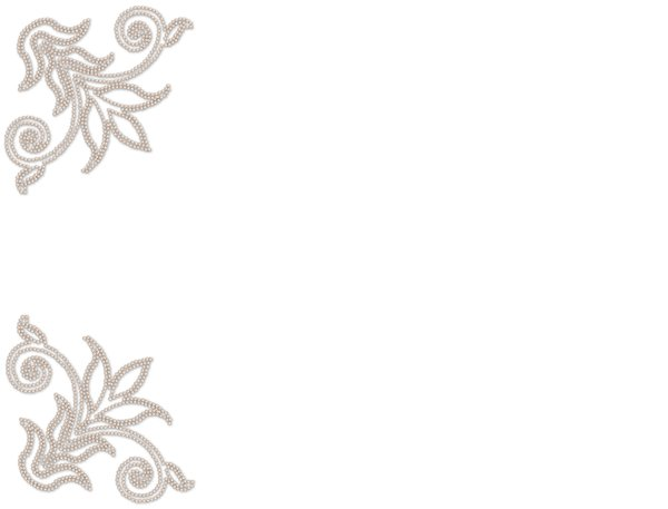 Pearl Corners: A pink pearl border on a plain white background. Great invitation or elegant background.