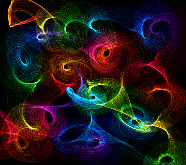 Vibrant Swirls: Playing with light and colour. This makes a great background, texture, fill or desktop. Rainbow colours on black.