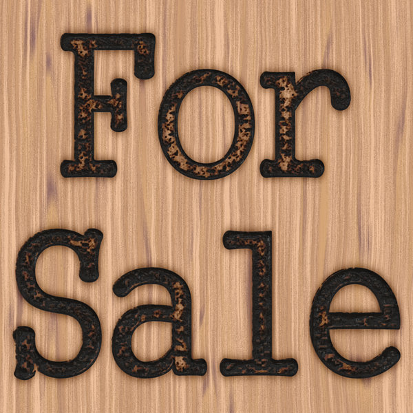 For Sale 2: A rustic, grungy for sale sign burnt into timber.