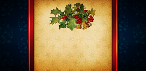 Christmas card background: Vintage-feel Christmas card background in blue with a decoration of holly and bells