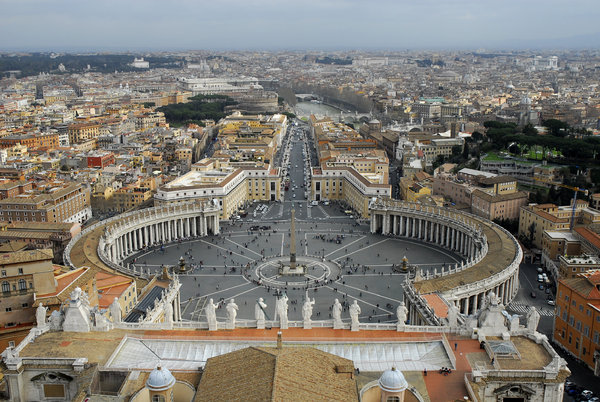 Vatican's Cityscape: Cityscape of Rome form the roof of Cathedral St. Peter