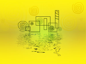 Corporate illustration: corporate illustration with reflexion on yellow background.