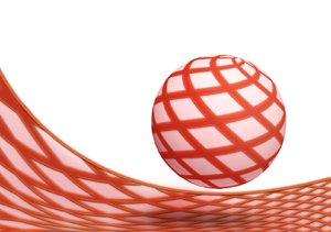 Striped ball: red striped ball illustration