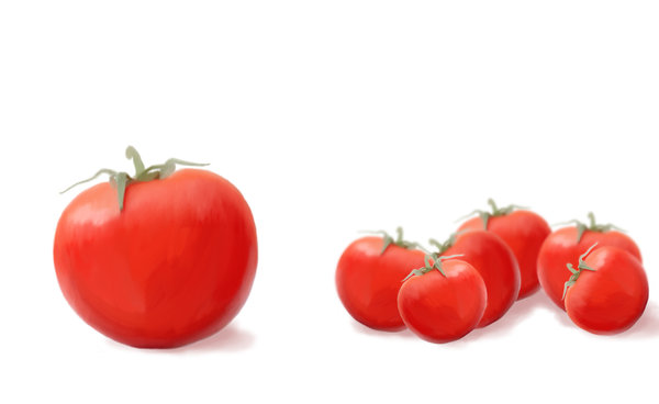 Painted tomatoes: painted version of the tomato picture