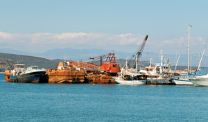 Industrial wharf: Industrial wharf at Gytheio, Greece.