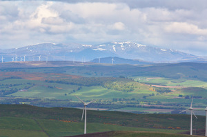 Craigowl Landscape: Landscape shot from Craigowl Hill to the north of Dundee, Scotland, looking north to the Grampians, with wind-turbines much in evidence