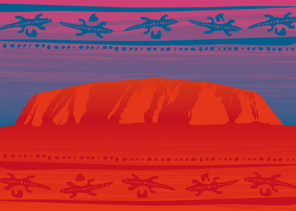 Uluru Ayers Rock Australia: Illustration. Uluru aka Ayers Rock Australia