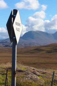 Highland sign: Passing Place sign in remote Scottish Highlands