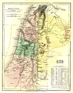 Old map: An old map of ancient Palestine from The Commentary Wholly Biblical, 1856, copyright expired.