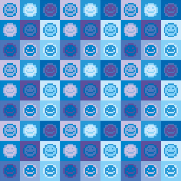 Smiley emoji pixel pattern