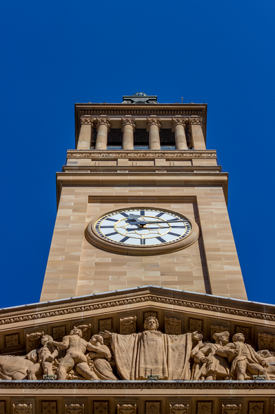 Brisbane Town Hall: Brisbane Town Hall, clock tower on a fine day in July 2017.