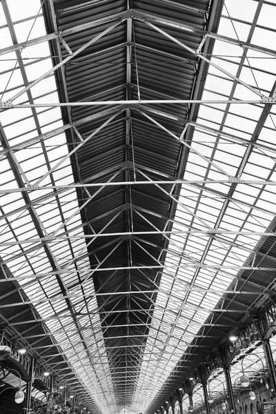 Railway station roof BW: Roof of Marylebone railway station, London, England. Photography in this area was freely permitted.