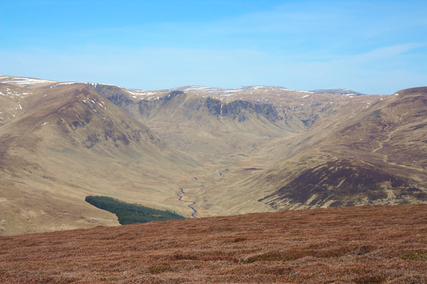 Glacial valley: View up Glen Isla, a glacial U shaped valley in the Scottish Highlands, from the summit of Monemenach, a Corbett on the edge of the Cairngorms