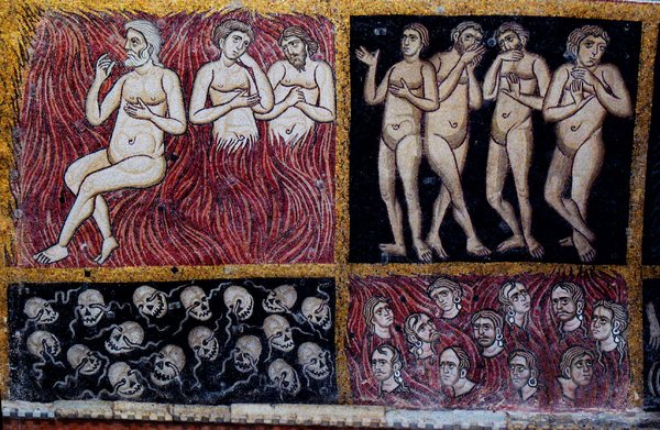 Condemned-: Mosaic (12th century AC) with scene from the Last Judgement in the Basilica di Santa Maria Assunta (639AC) (Europe, Italy, Venice, Torcello).