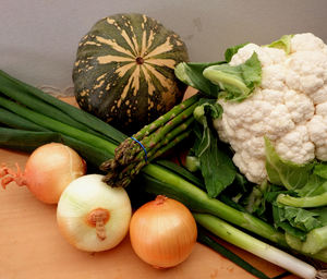 kitchen vegetable board3: variety of fresh vegetables before preparation and cooking