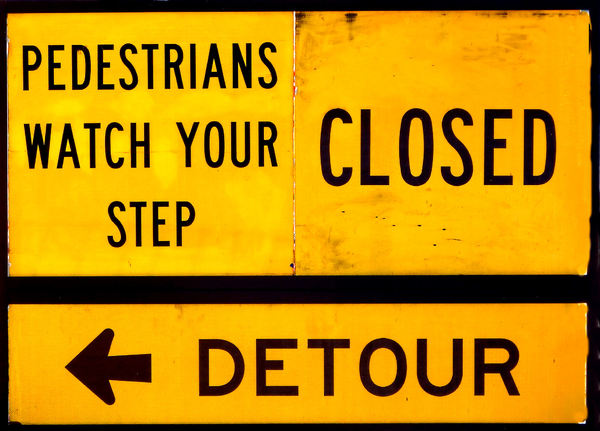 rough detour sign