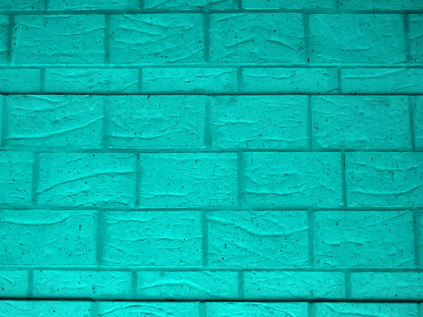 the green house: textures of green painted brick wall