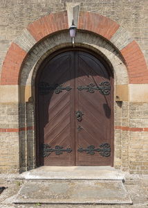 Old church doors: Paired doors of an old church (built c. 1870) in Cambridgeshire, England.