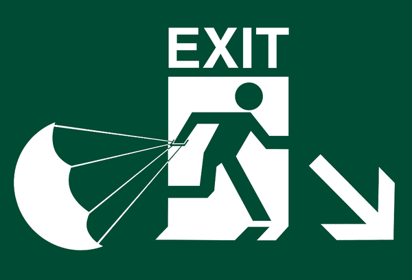 fire exit jump sign: fire exit jump sign
