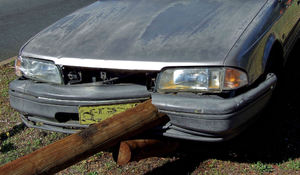 impaled.1: motor car accident - vehicle impaled on wooden railing