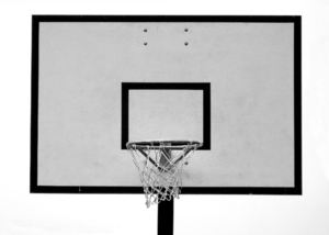basketball board2A: grayscale/greyscale image of public park practice/practise basketball hoop