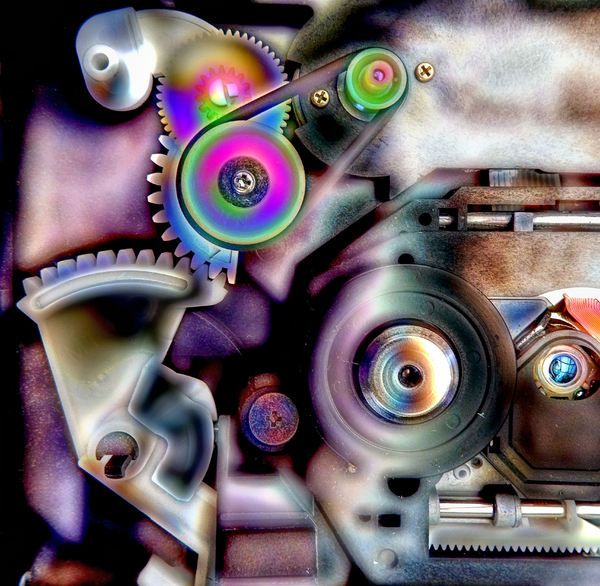 psychedelic movements1: psychedelic grunge image of movable electronic machine components