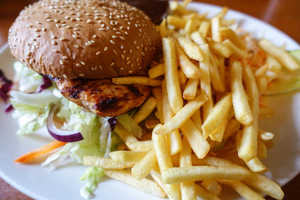 chicken burger with fries